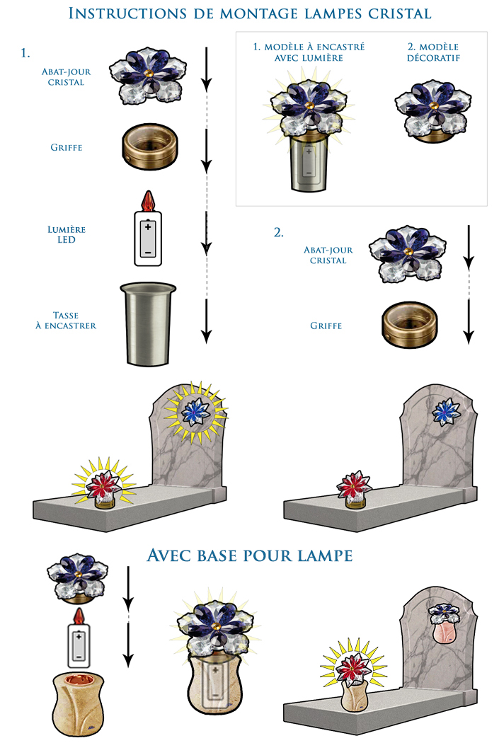 Lampes en cristal décoratives pour pierres tombales