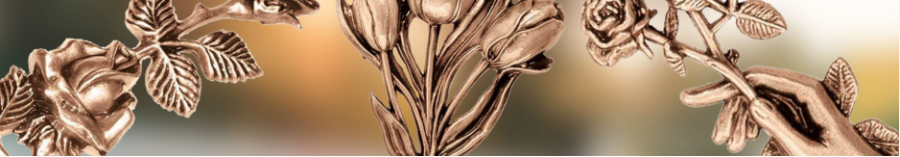 Decorative branches in bronze and steel for grave decoration