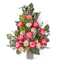 Bouquet of red and pink roses In plastic, with decorative foliage