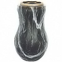 Flowers vase 13cm In Schwarz bronze, plastic inner, wall or ground attached 100217