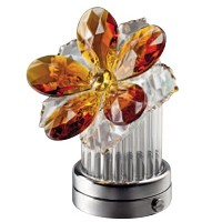 Amber crystal inclined water lily 8cm - 3in Led lamp or decorative flameshade for lamps and gravestones