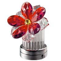 Red crystal inclined water lily 8cm - 3in Led lamp or decorative flameshade for lamps and gravestones