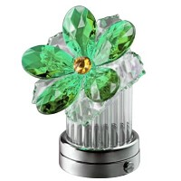 Green crystal inclined water lily 8cm - 3in Led lamp or decorative flameshade for lamps and gravestones