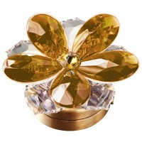 Amber crystal water lily 7,4cm - 3in Led lamp or decorative flameshade for lamps and gravestones