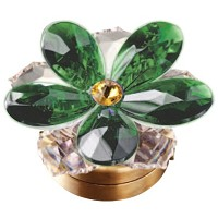 Green crystal water lily 7,4cm - 3in Led lamp or decorative flameshade for lamps and gravestones