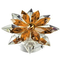 Amber crystal snowflake 12cm - 4,75in Led lamp or decorative flameshade for lamps and gravestones