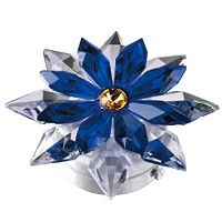 Blue crystal snowflake 12cm - 4,75in Led lamp or decorative flameshade for lamps and gravestones