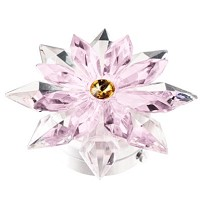 Pink crystal snowflake 12cm - 4,75in Led lamp or decorative flameshade for lamps and gravestones