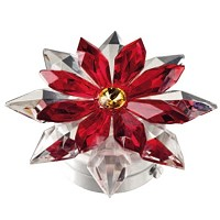 Red crystal snowflake 12cm - 4,75in Led lamp or decorative flameshade for lamps and gravestones