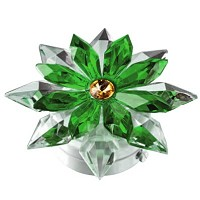 Green crystal snowflake 12cm - 4,75in Led lamp or decorative flameshade for lamps and gravestones