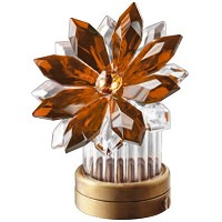Amber crystal inclined snowflake 8,5cm - 3,3in Led lamp or decorative flameshade for lamps and gravestones