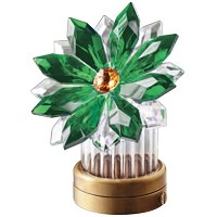 Green crystal inclined snowflake 8,5cm - 3,3in Led lamp or decorative flameshade for lamps and gravestones