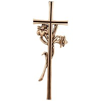 Crucifix with flowers 38,5x13,5cm - 15x5,3in In bronze, wall attached 2166-40