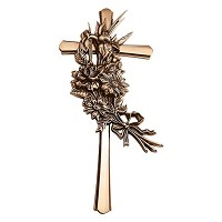 Crucifix with flowers 40x18cm - 15,75x7in In bronze, wall attached 2178-40