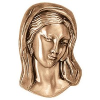 Wall plate Virgin Mary 21x13cm - 8,3x5in Bronze ornament for tombstone 3000