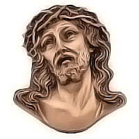 Wall plate Jesus Christ 23x24cm - 9x9,4in Bronze ornament for tombstone 3002