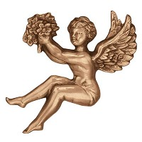 Wall plate angel 17x17cm - 6,5x6,5in Bronze ornament for tombstone 3002