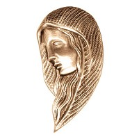 Wall plate Virgin Mary 14,5x8cm - 5,75x3in Bronze ornament for tombstone 3009