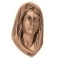 Wall plate Virgin Mary 10x17cm - 3,9x6,6in Bronze ornament for tombstone 3011