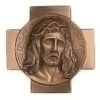 Wall plate Jesus Christ 18x18cm - 7x7in Bronze ornament for tombstone 3014