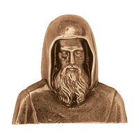 Wall plate St. Francis of Paola 11cm - 4,3in Bronze ornament for tombstone 3015
