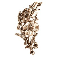 Wall plate flowers 20x10cm - 8x4in Bronze ornament for tombstone 3023