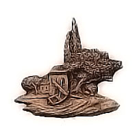 Wall plate landscape 10x10cm - 3,9x3,9in Bronze ornament for tombstone 3049