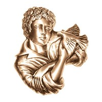 Wall plate child 17x15cm - 6,75x6in Bronze ornament for tombstone 3057