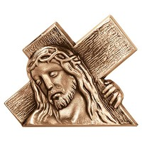 Wall plate Carrying the Cross 10x13cm - 4x5in Bronze ornament for tombstone 3059