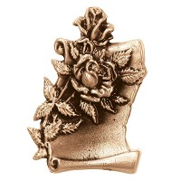 Wall plate parchment with roses 10x7cm - 4x2,75in Bronze ornament for tombstone 3060