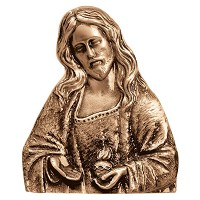 Wall plate Sacred Heart 17x14cm - 6,75x5,5in Bronze ornament for tombstone 3066