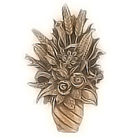 Wall plaque branch with flowerpot 14x9cm - 5,5x3,5in Bronze ornament for tombstone 3075