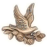 Wall plaque branch with dove flighting 15x15cm - 5,9x5,9in Bronze ornament for tombstone 3084