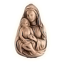 Wall plate Virgin Mary with child 6x10cm - 2,3x3,9in Bronze ornament for tombstone 3135