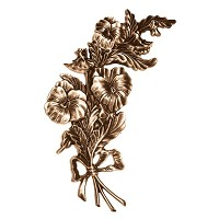 Wall plate flowers 27x14cm - 10,5x5,5in Bronze ornament for tombstone 3115