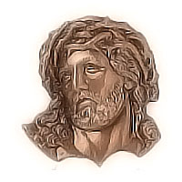 Wall plate Jesus Christ 5x6cm - 1,9x2,3in Bronze ornament for tombstone 3136