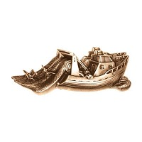 Wall plate fishing boat 7x18cm - 2,75x7in Bronze ornament for tombstone 3141