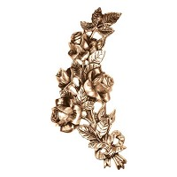 Wall plate roses 27x15cm - 10,5x6in Bronze ornament for tombstone 3144