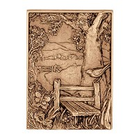 Wall plate landscape 17x12cm - 6,5x4,75in Bronze ornament for tombstone 3146