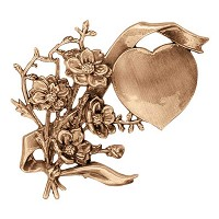 Wall plate heart with flowers 12x12cm - 4,75x4,75in Bronze ornament for tombstone 3147