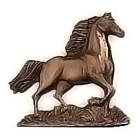 Wall plate running horse 13x13cm - 5,1x5,1in Bronze ornament for tombstone 3160