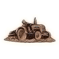 Wall plate tractor 17x8,5cm - 6,6x3,3in Bronze ornament for tombstone 3163
