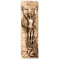 Wall plate Jesus Christ 35x13cm - 13,75x5in Bronze ornament for tombstone 3167-35
