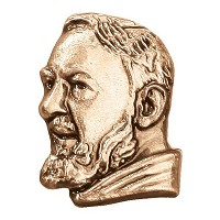 Wall plate Padre Pio 4,5x3,5cm - 1,75x1,3in Bronze ornament for tombstone 3182