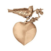 Wall plate heart with dove 10cm - 4in Bronze ornament for tombstone 3562