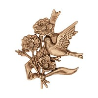 Wall plate dove with flowers 12cm - 4,75in Bronze ornament for tombstone 3564