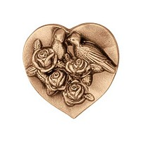 Wall plate heart with doves 5,5cm - 2in Bronze ornament for tombstone 3567