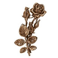 Wall plate roses 22cm - 8,5in Bronze ornament for tombstone 3722