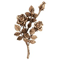 Wall plate roses left hand 30x16cm - 11,75x6,25in Bronze ornament for tombstone 3745-SX