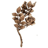 Wall plate roses left hand 30x15cm - 11,75x6in Bronze ornament for tombstone 3748-SX
